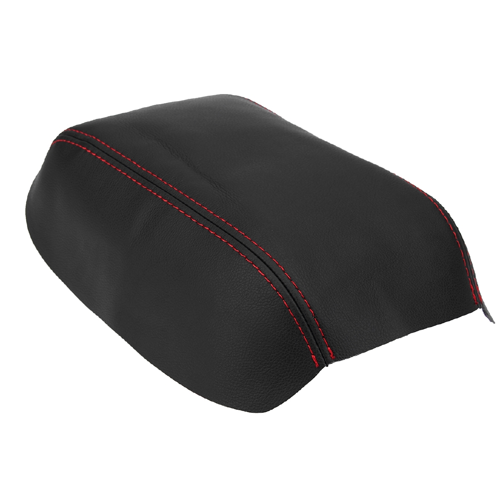 Armrest Center Console Leather Synthetic Cover for Honda Civic 12-15 Red Stitch